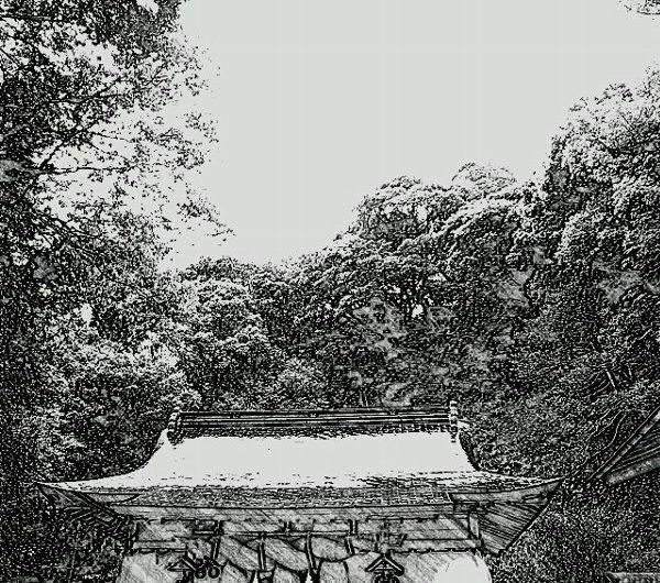 【絵画調変換No077】菅原天満宮/鉛筆画