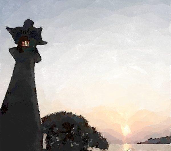20160909青柳楼の大灯篭と宍道湖の夕日/水彩画