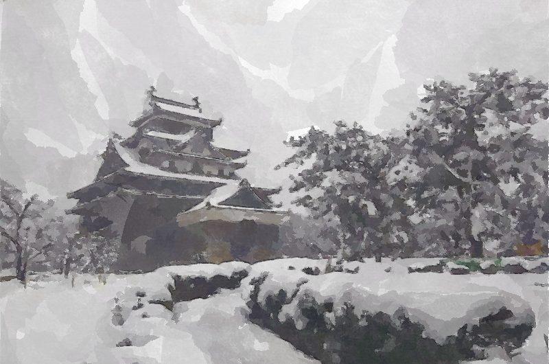 【絵画調変換No109】国宝松江城天守雪景色/水彩画