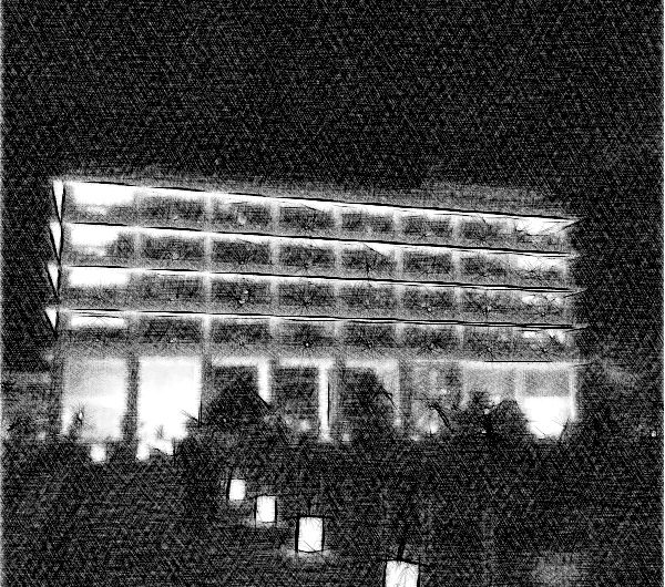 【絵画調変換No097】県庁庭園水燈路-結いとうろ-開催中の島根県庁舎/鉛筆画