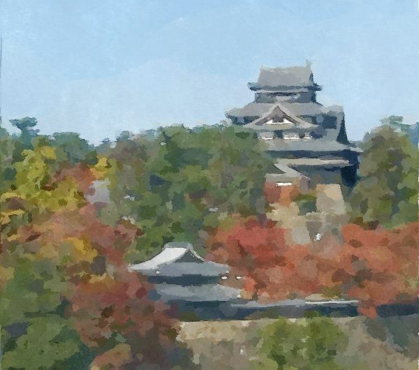 【絵画調変換No105】秋の国宝松江城遠景/水彩画