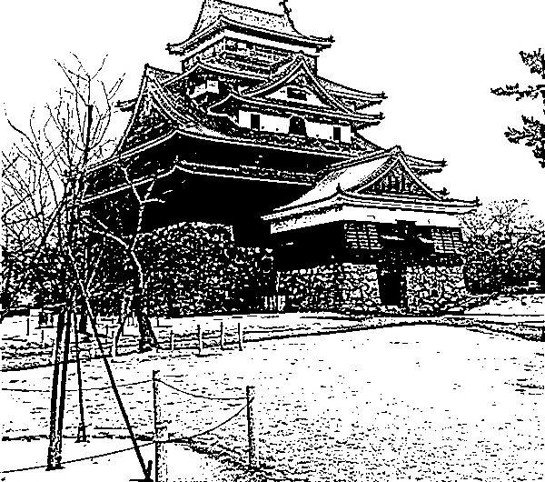 【絵画調変換No114】松江城本丸/インク画