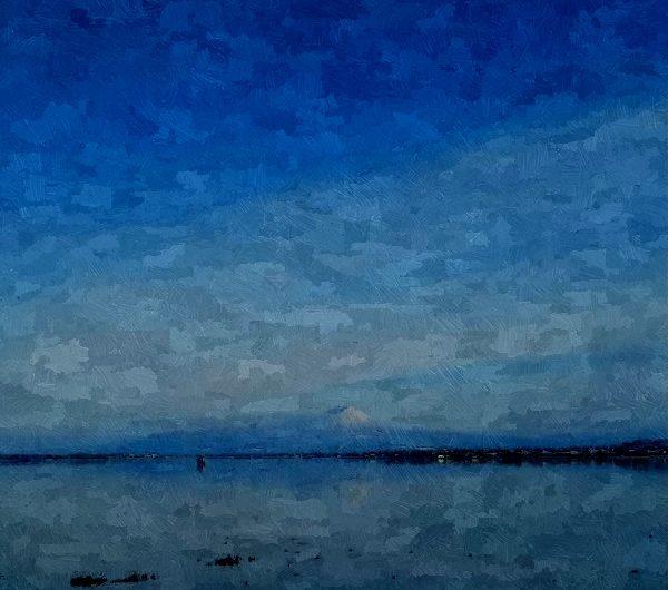 20180114松江から秀峰大山を見る/油絵