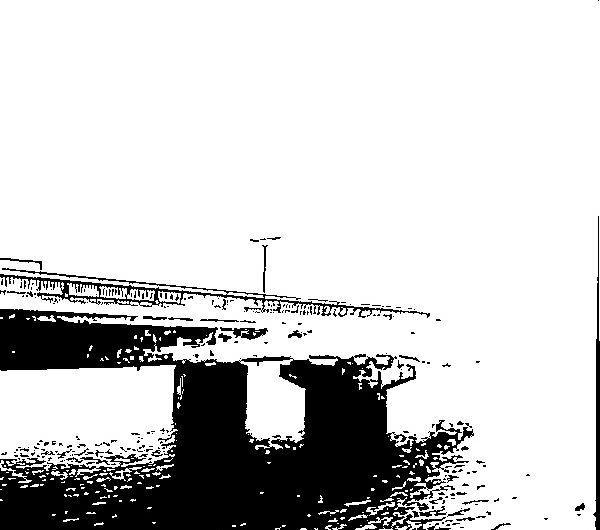 【絵画調変換No117】朝霧の宍道湖大橋/インク画