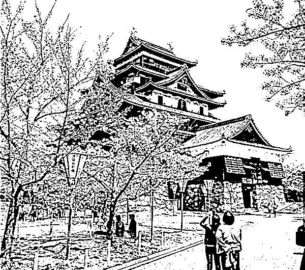 【絵画調変換No121】松江城天守とサクラ/インク画
