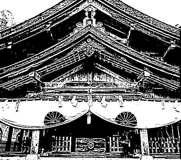 【絵画調変換No128】美保神社/インク画