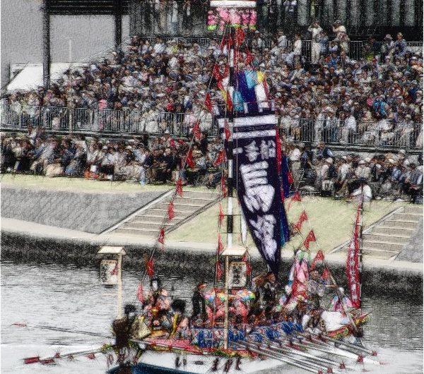 【絵画調変換No131】日本三大船神事ホーランエンヤ渡御祭/色鉛筆