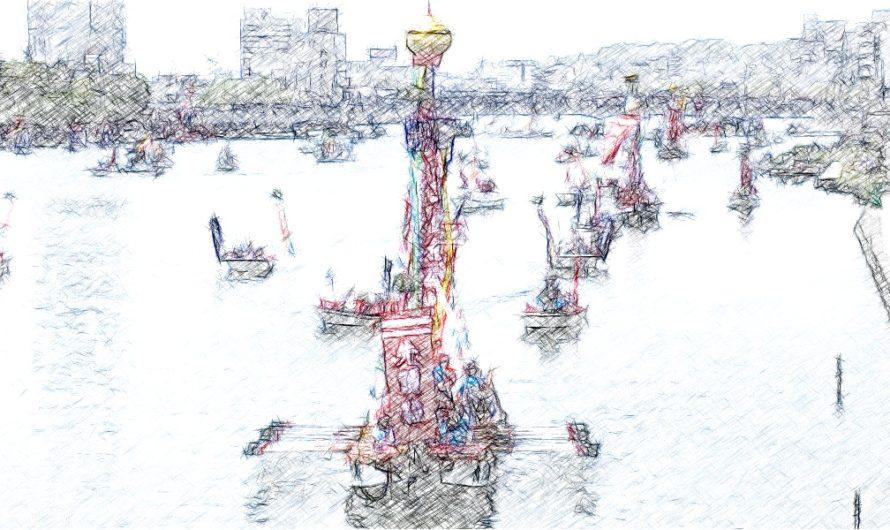 【絵画調変換No133】日本三大船神事ホーランエンヤ還御祭/色鉛筆画