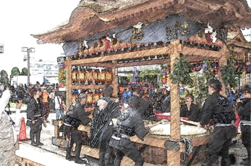 【絵画調No136】松江鼕行列、東本町一丁目の鼕宮/色鉛筆画
