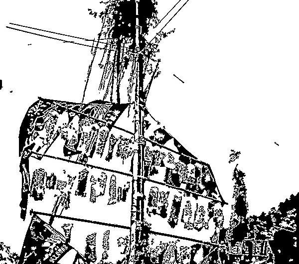 【絵画調No140】墨付け神事、片江のとんど2020/インク画
